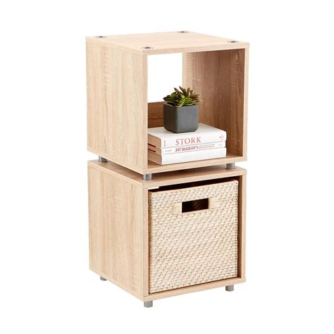 Stacking Shelf by Small Rustic Oak Vario Stackable Shelf The Container Store
