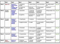 PCAT Tutoring Sample Study Schedule