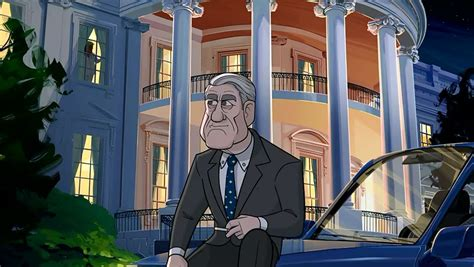 cartoon president mueller outside