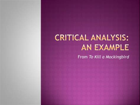 critical analysis   powerpoint    id
