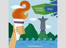 Olympic torch in brazil 2016 background Vector Free Download