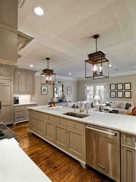 Huge Open Galley Kitchen With Lots Of Workspaces And Sink