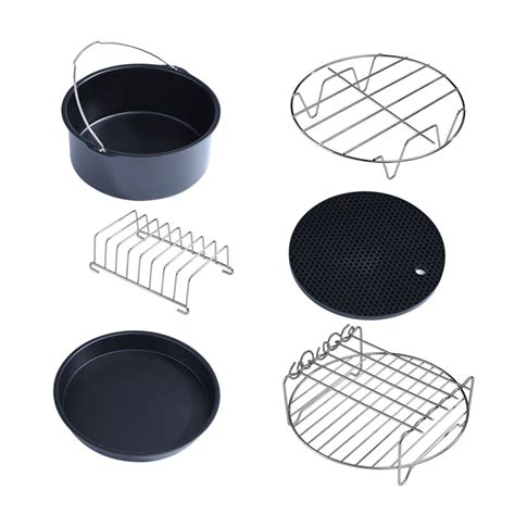fryer air parts kit rack holder metal accessory skewer barrel cake multifunctional pan double fryers pizza mgaxyff layer walfront nonstick