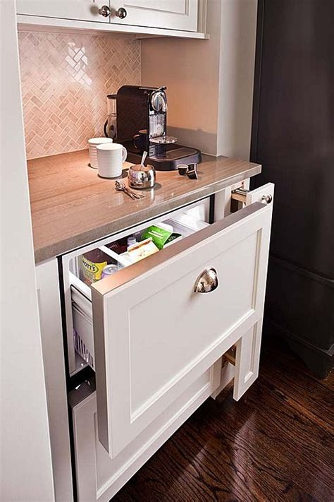 Some of these small fridges even come with their own freezers. Keep cream for your morning coffee easily within reach with a pull-out mini fridge.   Home ...