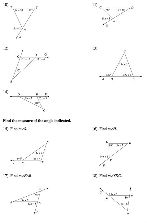 triangle sum theorem worksheet kuta breadandhearth