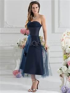 Robe Bleu Demoiselle D Honneur : robe demoiselle d 39 honneur a ligne bleu marine fonc e en tulle d tail encolure coeur ~ Dallasstarsshop.com Idées de Décoration