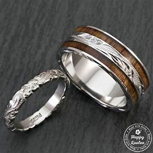 pair of hand engraved platinum and sterling silver wedding With hawaiian wedding rings sets