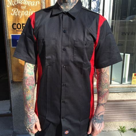 Dickies S/S Two Tone Black/Red Shirt   Sivletto
