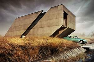Brutalist, House, Concept, Design, By, Adam, Spycha, U0142a