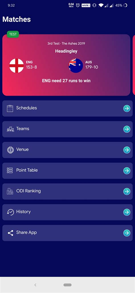 cricket ui template  android app