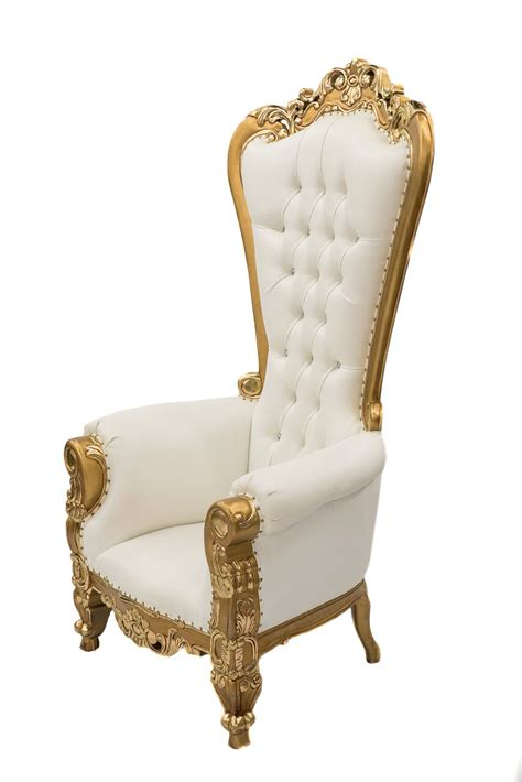 white gold throne chair