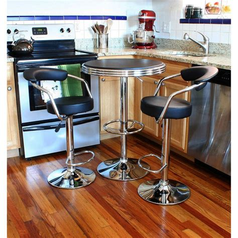 Bar Set by Amerihome Retro Style 37 In Adjustable Height Bar Table