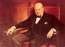 Oil painting male portrait Sir Winston Churchill smoking ...