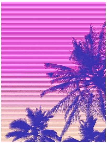 Vaporwave Palm Tree Tropical Neon Heart Prints