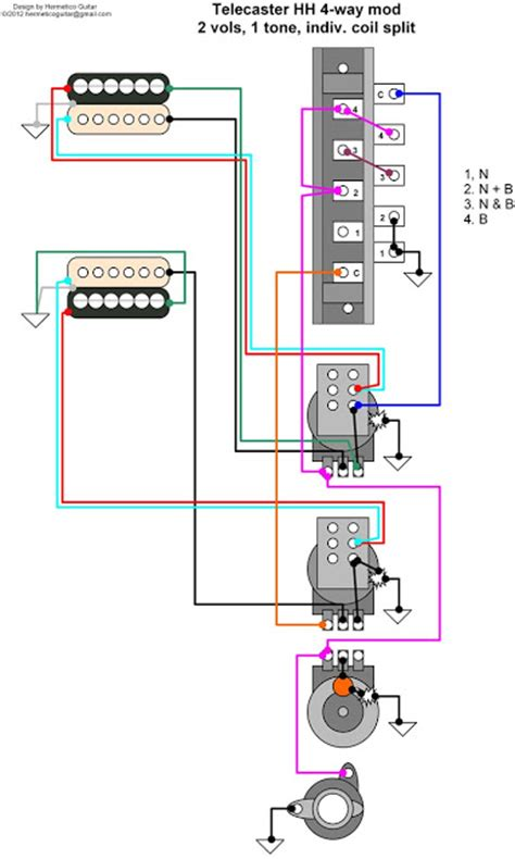 Rotary Switch Wiring Diagram Telecaster by Hermetico Guitar Wiring Diagram Tele Hh 4 Way Mod With