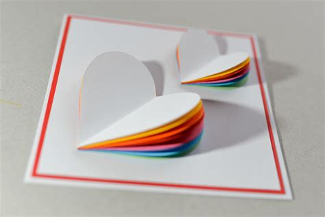 make a card how to make valentine s day card rainbow heart greeting card step by step kartka na