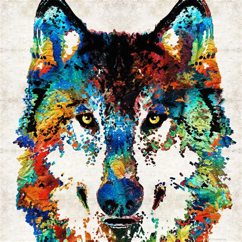 colorful wolf animal print from painting primary colors