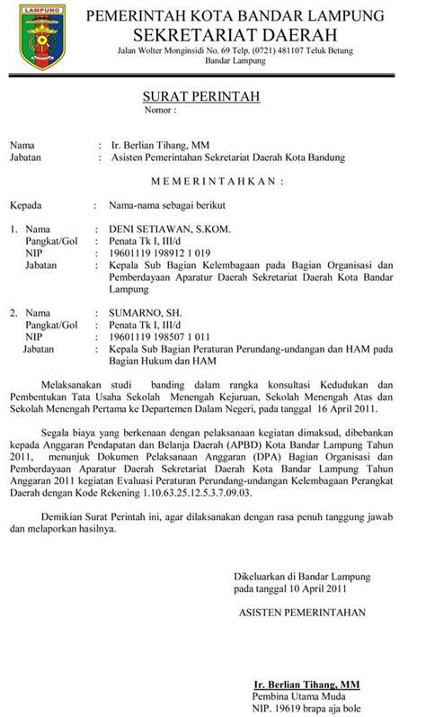 Contoh Surat Perintah Resmi contoh surat perintah resmi sekda kota bandar lung