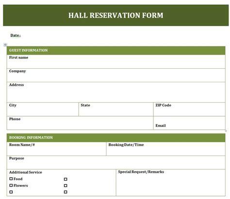 banquet hall reservation form