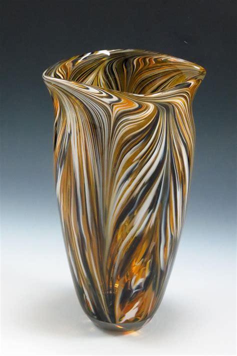 black gold peacock vase  mark rosenbaum art glass
