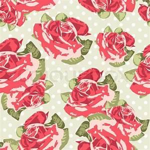 Beautiful Seamless rose pattern with blue polka dot ...