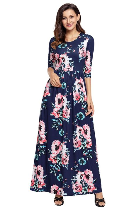 Women Autumn Classic Floral Print 34 Long Sleeve Maxi
