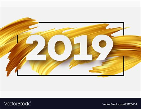 Gold 2019 Happy New Year Greeting Card Royalty Free Vector