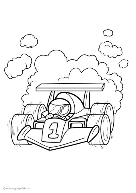 Race car is driving really fast | Coloring Pages 24