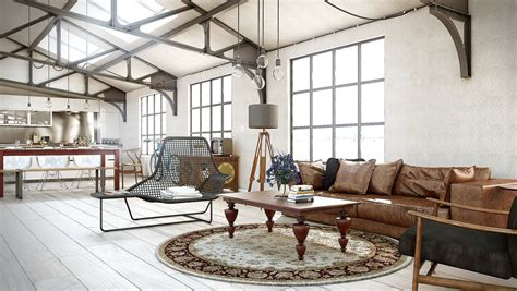 industrial utilitarian living space interior design ideas