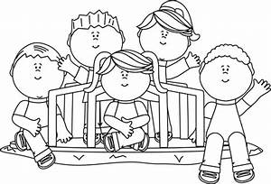 Black and White Kids on a Merry Go Round Clip Art - Black ...