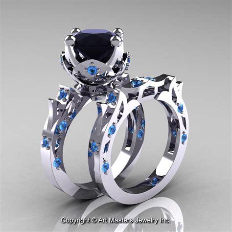 white gold emerald ring modern antique 14k white gold 3 0 carat black blue