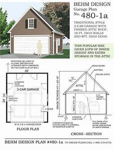 Two Car Garage With Attic Plan 480 1a 2039 X 2439 1039 Wall