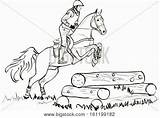 Horse Cross Country Coloring Template sketch template