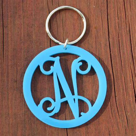monogram keychain solid  capital letters