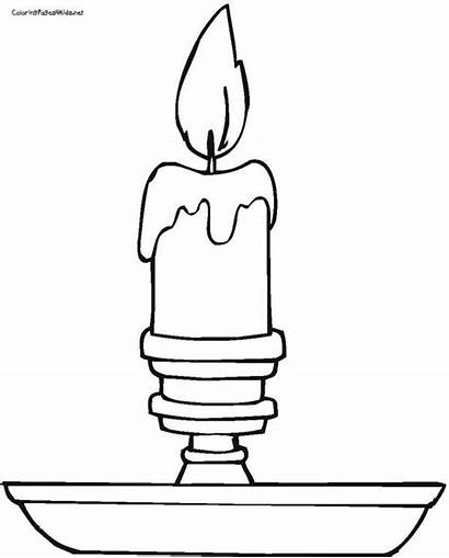 Coloring Pages Candle Candles Christmas Sheets Candlestick