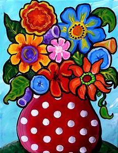 Whimsical Flowers In Polka Dots Painting by Renie Britenbucher