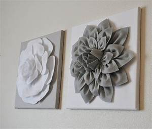 two wall flowers gray dahlia on white and white rose on gray With white wall decor