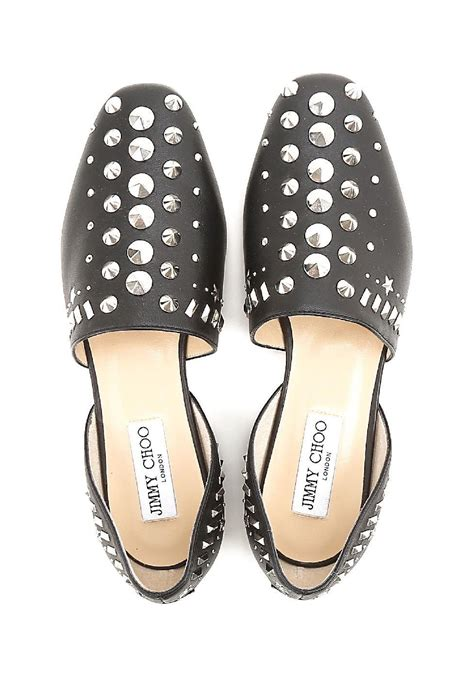 jimmy choo dorsay flats shoes studded black leather italian boutique