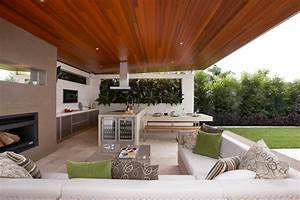 Gorgeous, Sectional, Couch, Covers, In, Patio, Contemporary, With, Outdoor, Bbq, Area, Next, To, Backyard