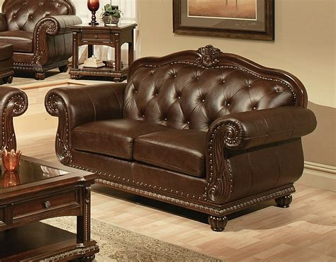 Leather Tufted Loveseat by Sunderland Traditional Tufted Sofa Loveseat In Espresso