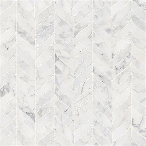 Calacatta Cressa White Leaf Marble Mosaic Tile   SMOT