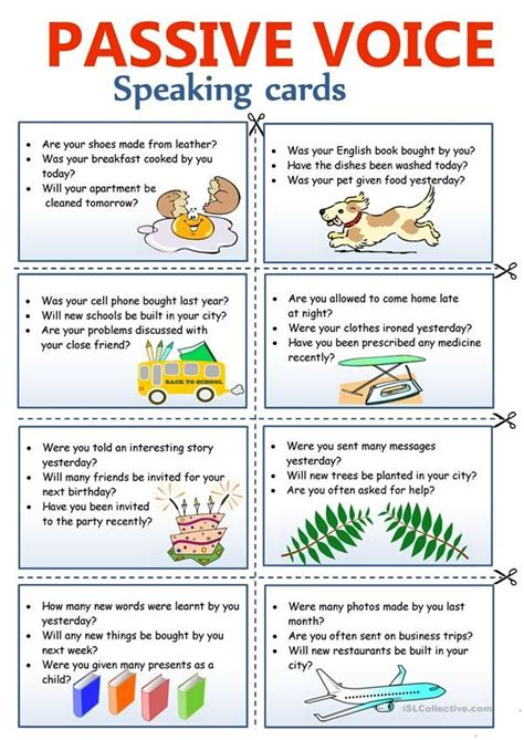 passive voice speaking cards english lessons english