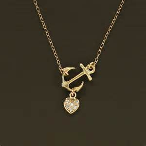 custom heart necklace sideways gold anchor necklace with pave heart 14k gold by