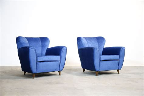 Vintage Italian Blue Armchairs, 1960s, Set Of 2 For Sale