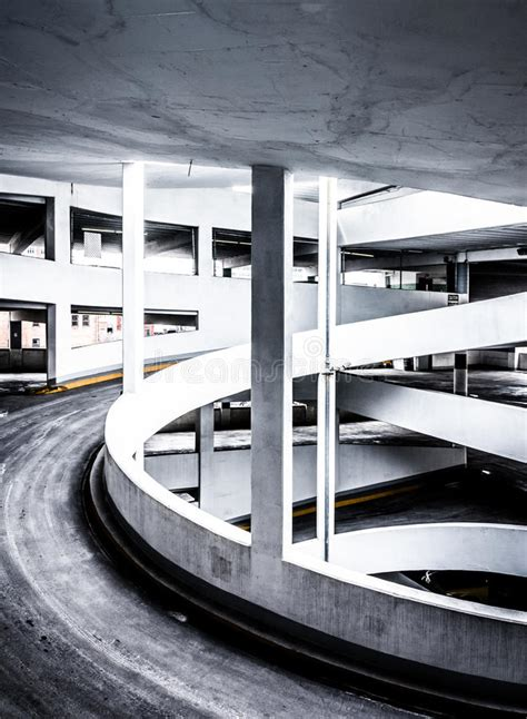 Ramp In A Parking Garage, In Baltimore, Maryland Stock