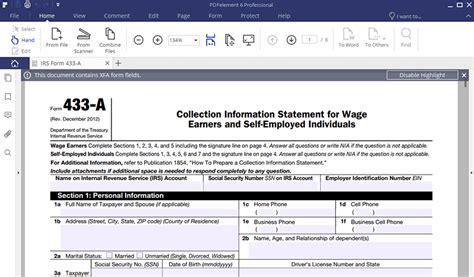 Irs Form 443a by Irs Form 433 A How To Fill It Right Wondershare Pdfelement