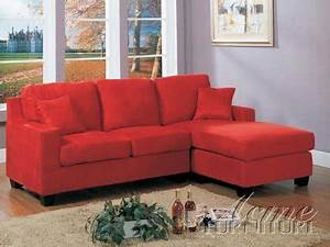 05917 vogue red microfiber reversible sectional sofa by acme With vogue microfiber reversible chaise sectional sofa red