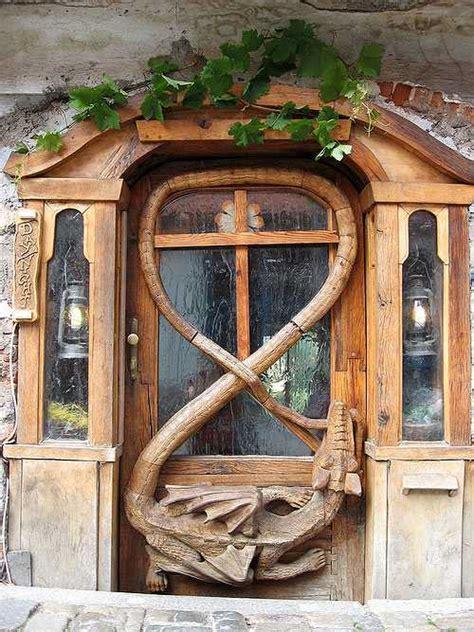 antique metal  wood exterior doors bringing charm  unique vintage style
