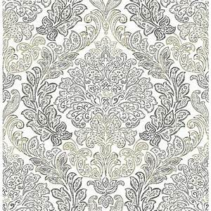 The Wallpaper Company 8 in. x 10 in. Jade Damask Wallpaper Sample