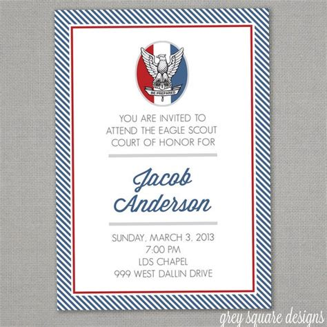 eagle scout court  honor invitation  greysquare  etsy